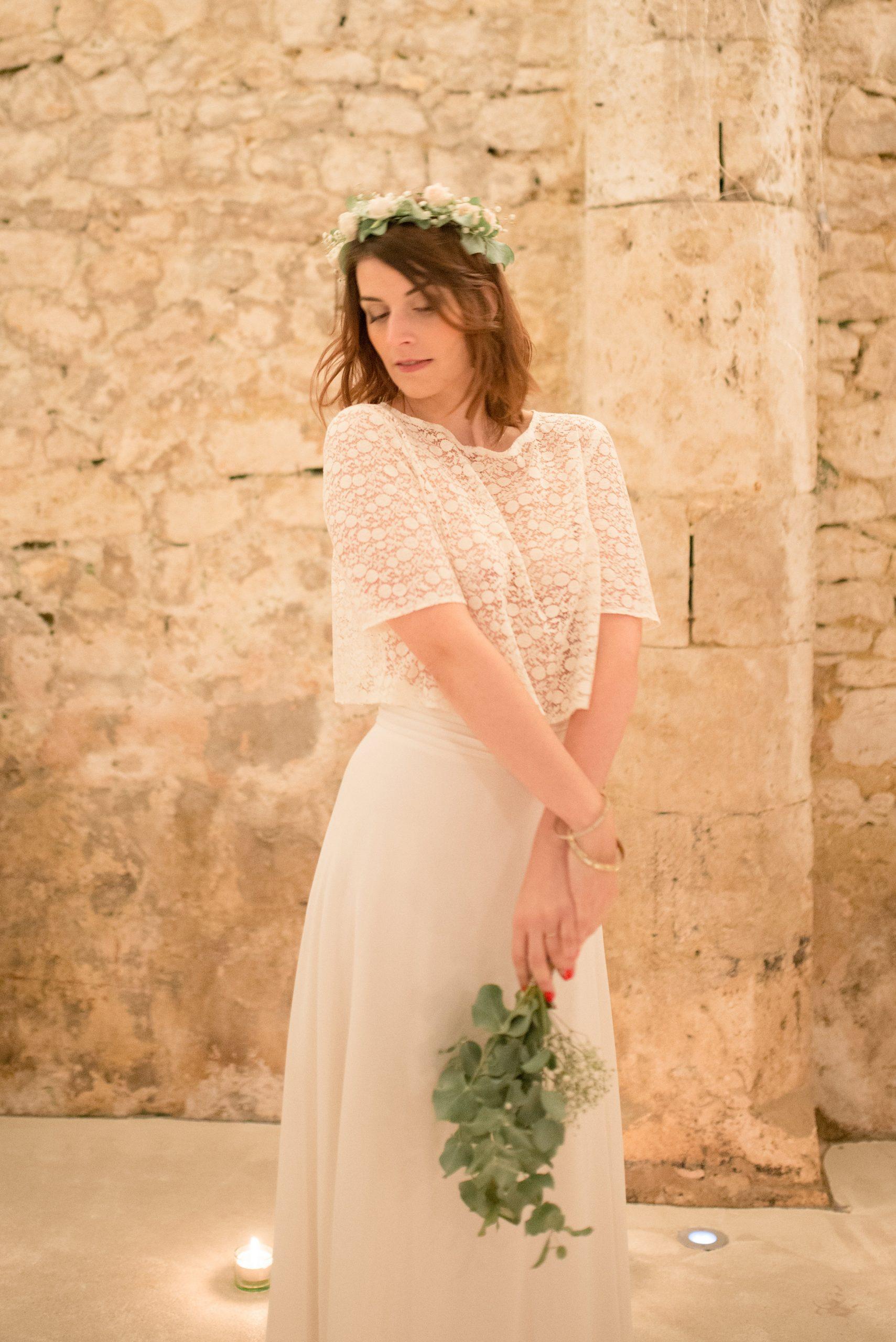 Location robe de mariée La Rochelle ensemble Amandine face cave