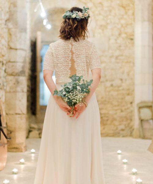 Location robe de mariée La Rochelle ensemble Amandine dos cave
