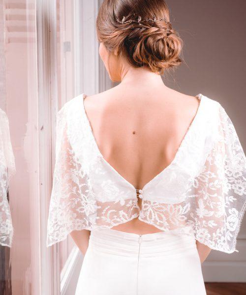 Location robe de mariée La Rochelle top Céline dos lumière