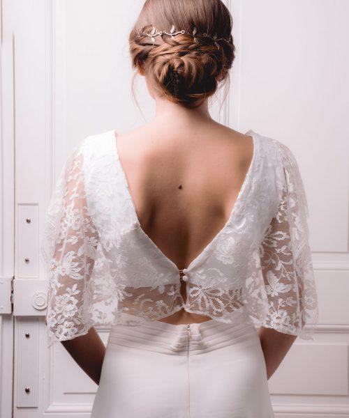 Location robe de mariée La Rochelle top Céline dos